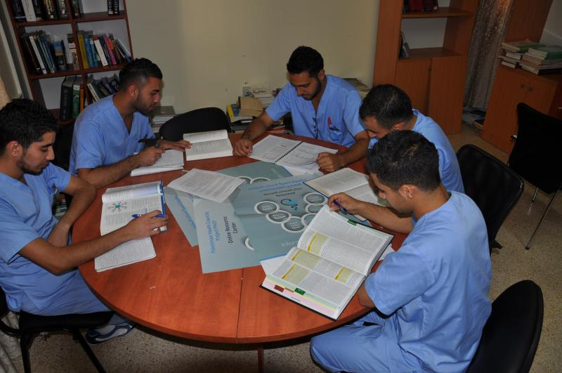A group of residents study during their break in the new online resource center at the hospital in Jenin, Palestine. Photo courtesy of Stephanie Brantley.